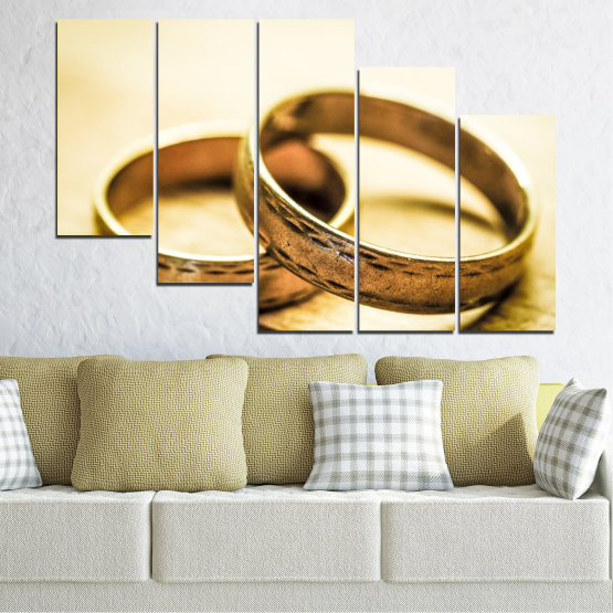 Canvas prints & wall decorative panels - 5 pieces №0618 » Orange, Brown, White, Beige » Wedding, Symbol, Ring Form #7