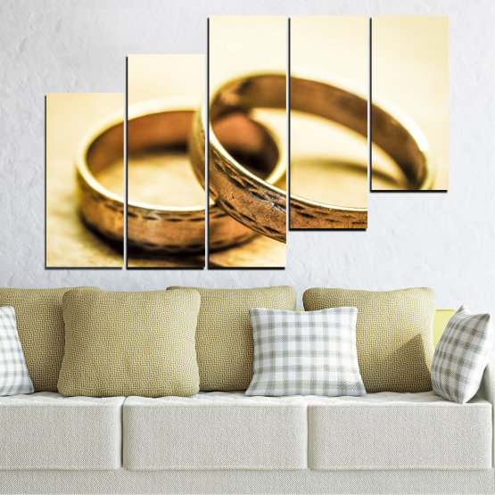 Canvas prints & wall decorative panels - 5 pieces №0618 » Orange, Brown, White, Beige » Wedding, Symbol, Ring Form #8