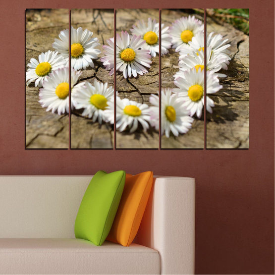 Canvas prints & wall decorative panels - 5 pieces №0619 » Brown, Gray, White » Flowers, Daisy, Heart Form #2