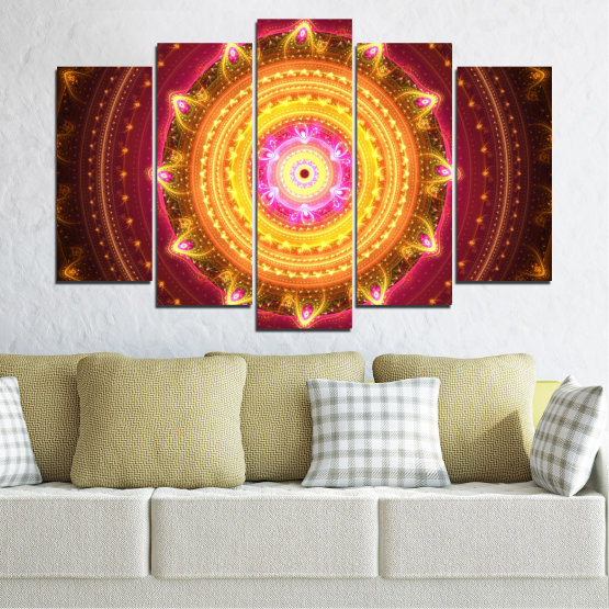 Canvas prints & wall decorative panels - 5 pieces №0062 » Red, Yellow, Orange, Brown, Black » Abstraction, Mandala, Symbol, Buddha Form #1