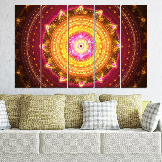 Canvas prints & wall decorative panels - 5 pieces №0062 » Red, Yellow, Orange, Brown, Black » Abstraction, Mandala, Symbol, Buddha Form #2