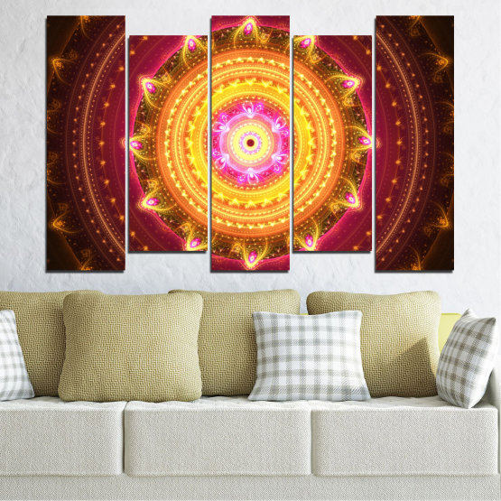 Canvas prints & wall decorative panels - 5 pieces №0062 » Red, Yellow, Orange, Brown, Black » Abstraction, Mandala, Symbol, Buddha Form #3