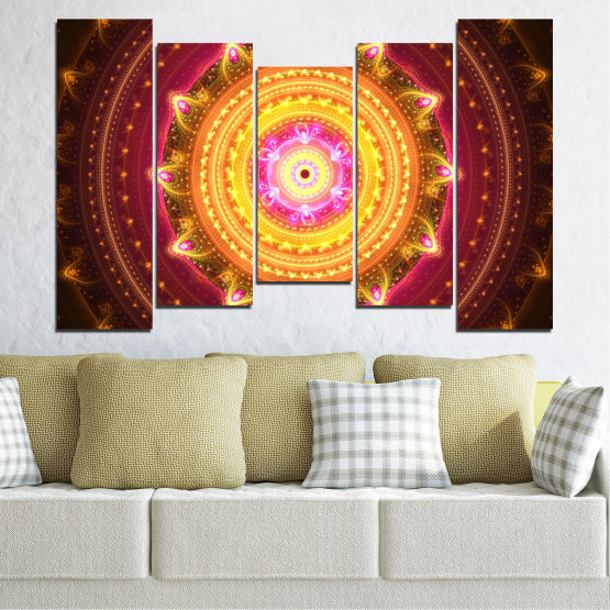 Canvas prints & wall decorative panels - 5 pieces №0062 » Red, Yellow, Orange, Brown, Black » Abstraction, Mandala, Symbol, Buddha Form #4