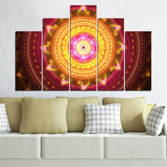 Canvas prints & wall decorative panels - 5 pieces №0062 » Red, Yellow, Orange, Brown, Black » Abstraction, Mandala, Symbol, Buddha Form #5