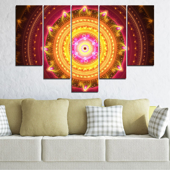 Canvas prints & wall decorative panels - 5 pieces №0062 » Red, Yellow, Orange, Brown, Black » Abstraction, Mandala, Symbol, Buddha Form #6