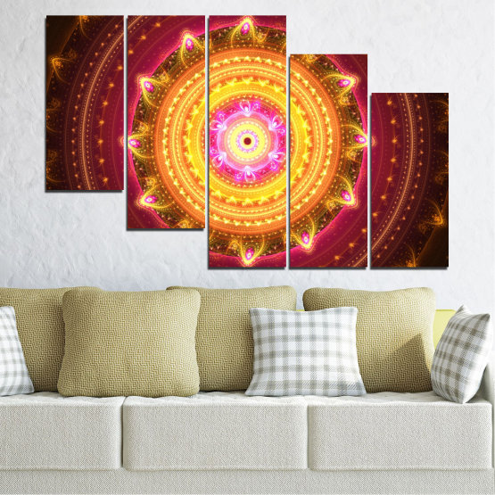 Canvas prints & wall decorative panels - 5 pieces №0062 » Red, Yellow, Orange, Brown, Black » Abstraction, Mandala, Symbol, Buddha Form #7