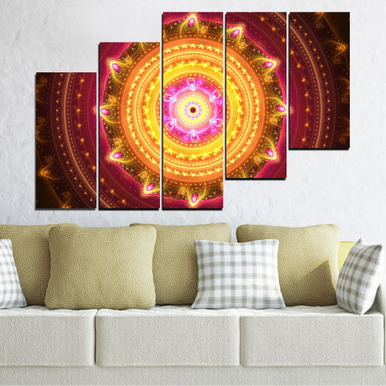 Canvas prints & wall decorative panels - 5 pieces №0062 » Red, Yellow, Orange, Brown, Black » Abstraction, Mandala, Symbol, Buddha Form #8