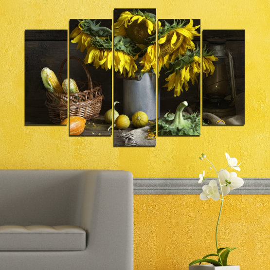 Canvas prints & wall decorative panels - 5 pieces №0620 » Brown, Black, Gray, Dark grey » Flowers, Culinary, Still life, Sunflower Form #1