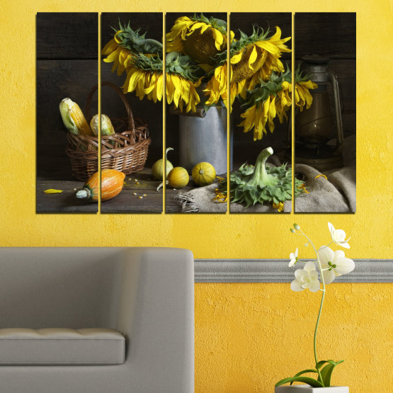 Canvas prints & wall decorative panels - 5 pieces №0620 » Brown, Black, Gray, Dark grey » Flowers, Culinary, Still life, Sunflower Form #2