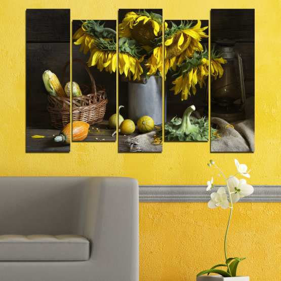 Canvas prints & wall decorative panels - 5 pieces №0620 » Brown, Black, Gray, Dark grey » Flowers, Culinary, Still life, Sunflower Form #3