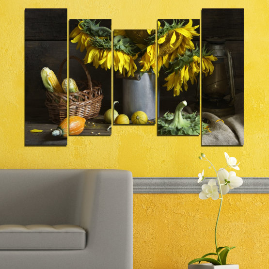 Canvas prints & wall decorative panels - 5 pieces №0620 » Brown, Black, Gray, Dark grey » Flowers, Culinary, Still life, Sunflower Form #4