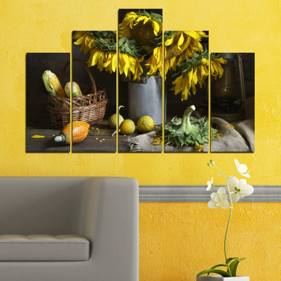 Canvas prints & wall decorative panels - 5 pieces №0620 » Brown, Black, Gray, Dark grey » Flowers, Culinary, Still life, Sunflower Form #5