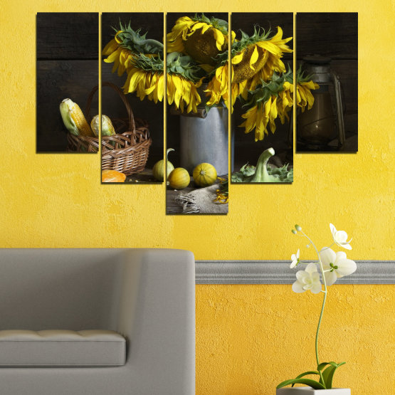 Canvas prints & wall decorative panels - 5 pieces №0620 » Brown, Black, Gray, Dark grey » Flowers, Culinary, Still life, Sunflower Form #6