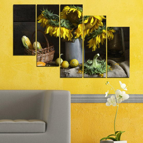 Canvas prints & wall decorative panels - 5 pieces №0620 » Brown, Black, Gray, Dark grey » Flowers, Culinary, Still life, Sunflower Form #7