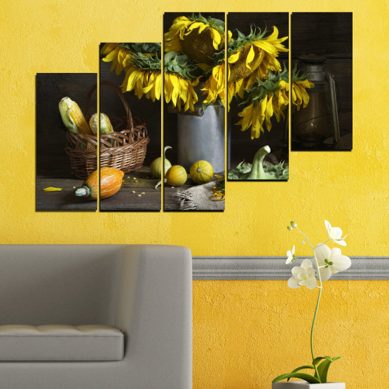 Canvas prints & wall decorative panels - 5 pieces №0620 » Brown, Black, Gray, Dark grey » Flowers, Culinary, Still life, Sunflower Form #8