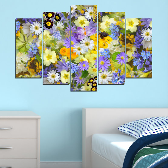 Canvas prints & wall decorative panels - 5 pieces №0621 » Green, Gray, Beige » Flowers, Collage, Garden Form #1