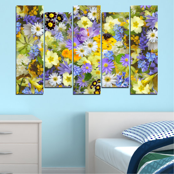 Canvas prints & wall decorative panels - 5 pieces №0621 » Green, Gray, Beige » Flowers, Collage, Garden Form #3