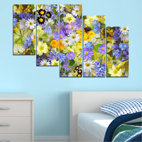 Canvas prints & wall decorative panels - 5 pieces №0621 » Green, Gray, Beige » Flowers, Collage, Garden Form #7