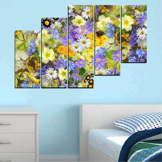 Canvas prints & wall decorative panels - 5 pieces №0621 » Green, Gray, Beige » Flowers, Collage, Garden Form #8