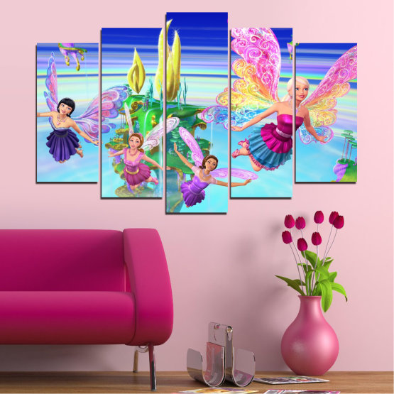 Декоративни панели и картини от канава - от 5 части №0623 » Син, Тюркоаз, Сив, Млечно розов » Детски, Анимационен, Барби Form #1