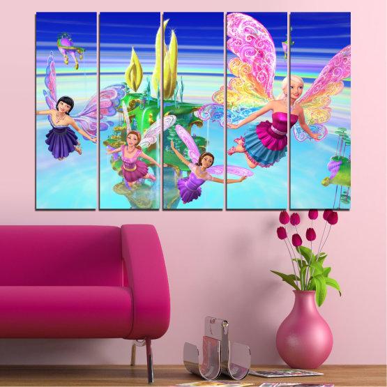 Декоративни панели и картини от канава - от 5 части №0623 » Син, Тюркоаз, Сив, Млечно розов » Детски, Анимационен, Барби Form #2