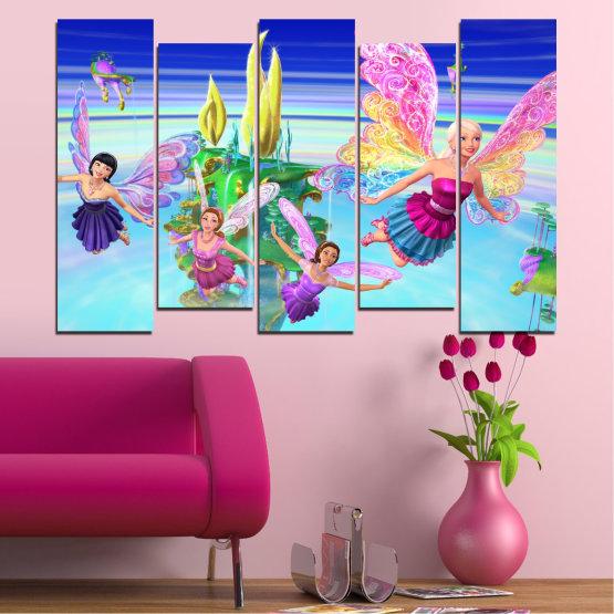 Декоративни панели и картини от канава - от 5 части №0623 » Син, Тюркоаз, Сив, Млечно розов » Детски, Анимационен, Барби Form #3