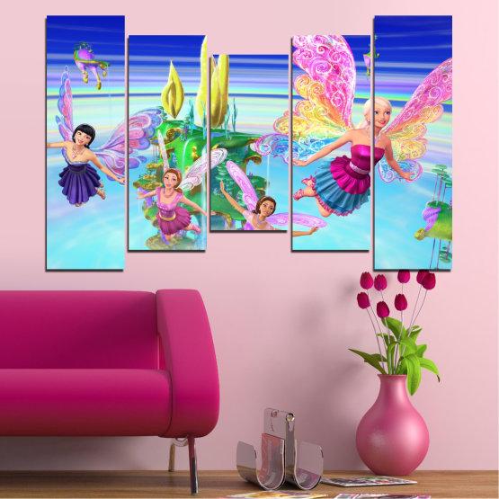 Декоративни панели и картини от канава - от 5 части №0623 » Син, Тюркоаз, Сив, Млечно розов » Детски, Анимационен, Барби Form #4