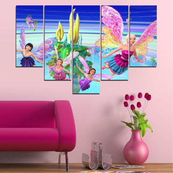 Декоративни панели и картини от канава - от 5 части №0623 » Син, Тюркоаз, Сив, Млечно розов » Детски, Анимационен, Барби Form #6