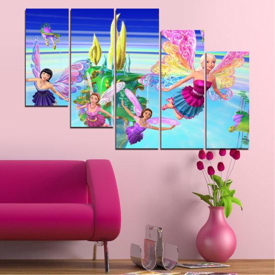 Декоративни панели и картини от канава - от 5 части №0623 » Син, Тюркоаз, Сив, Млечно розов » Детски, Анимационен, Барби Form #7