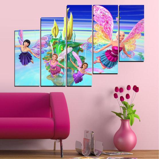 Декоративни панели и картини от канава - от 5 части №0623 » Син, Тюркоаз, Сив, Млечно розов » Детски, Анимационен, Барби Form #8