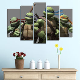 Children, Animated, Turtle nindja, Cartoon » Brown, Black, Gray, Dark grey
