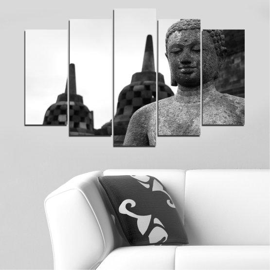 Декоративни панели и картини от канава - от 5 части №0625 » Черен, Сив, Бял, Тъмно сив » Фън шуй, Буда, Статуя, Храм Form #1