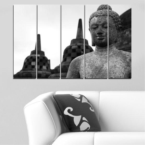 Декоративни панели и картини от канава - от 5 части №0625 » Черен, Сив, Бял, Тъмно сив » Фън шуй, Буда, Статуя, Храм Form #2