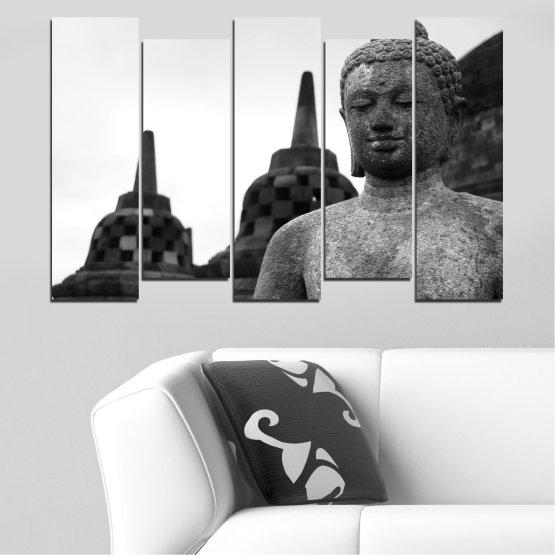 Декоративни панели и картини от канава - от 5 части №0625 » Черен, Сив, Бял, Тъмно сив » Фън шуй, Буда, Статуя, Храм Form #3