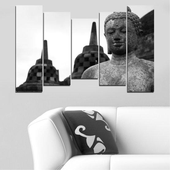 Декоративни панели и картини от канава - от 5 части №0625 » Черен, Сив, Бял, Тъмно сив » Фън шуй, Буда, Статуя, Храм Form #4