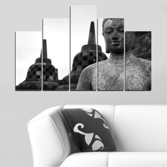 Декоративни панели и картини от канава - от 5 части №0625 » Черен, Сив, Бял, Тъмно сив » Фън шуй, Буда, Статуя, Храм Form #5