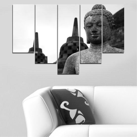 Декоративни панели и картини от канава - от 5 части №0625 » Черен, Сив, Бял, Тъмно сив » Фън шуй, Буда, Статуя, Храм Form #6