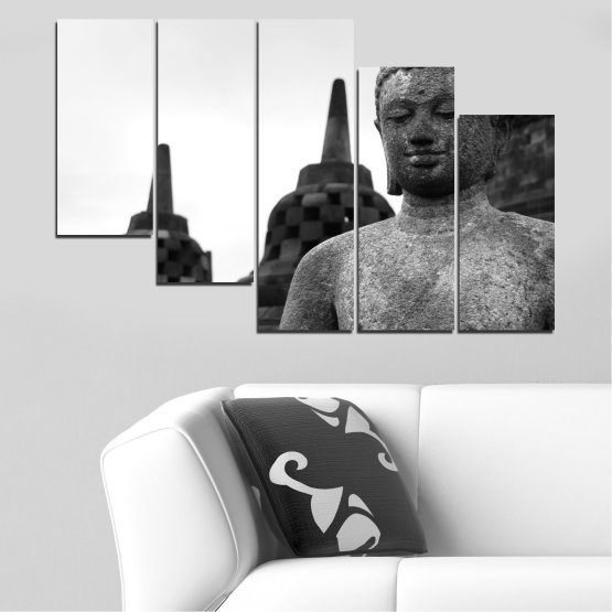 Canvas prints & wall decorative panels - 5 pieces №0625 » Black, Gray, White, Dark grey » Feng shui, Buddha, Statue, Temple Form #7
