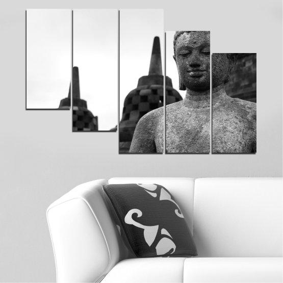 Декоративни панели и картини от канава - от 5 части №0625 » Черен, Сив, Бял, Тъмно сив » Фън шуй, Буда, Статуя, Храм Form #7
