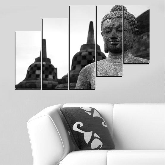 Декоративни панели и картини от канава - от 5 части №0625 » Черен, Сив, Бял, Тъмно сив » Фън шуй, Буда, Статуя, Храм Form #8