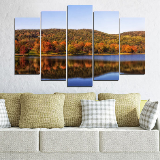 Canvas prints & wall decorative panels - 5 pieces №0626 » Brown, Gray, White » Nature, Landscape, Water, Forest, Reflection, Autumn Form #1