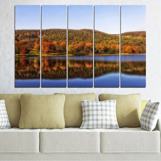 Canvas prints & wall decorative panels - 5 pieces №0626 » Brown, Gray, White » Nature, Landscape, Water, Forest, Reflection, Autumn Form #2