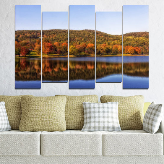 Canvas prints & wall decorative panels - 5 pieces №0626 » Brown, Gray, White » Nature, Landscape, Water, Forest, Reflection, Autumn Form #3
