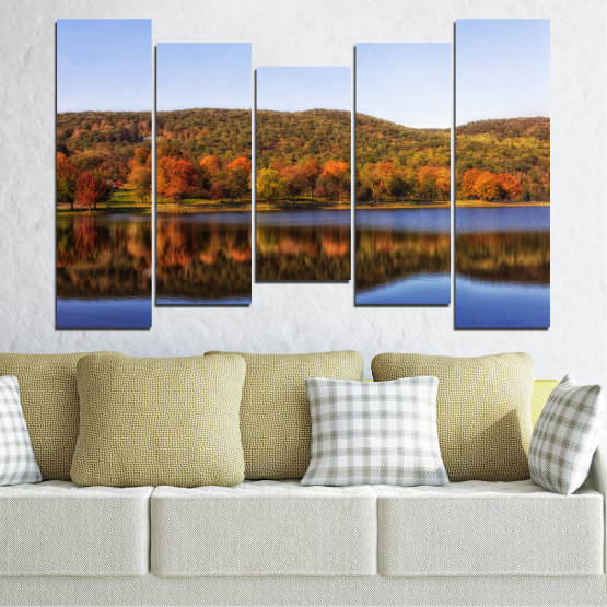 Canvas prints & wall decorative panels - 5 pieces №0626 » Brown, Gray, White » Nature, Landscape, Water, Forest, Reflection, Autumn Form #4