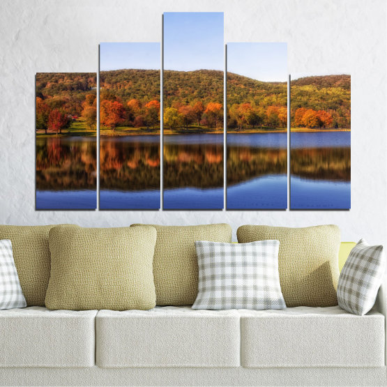 Canvas prints & wall decorative panels - 5 pieces №0626 » Brown, Gray, White » Nature, Landscape, Water, Forest, Reflection, Autumn Form #5
