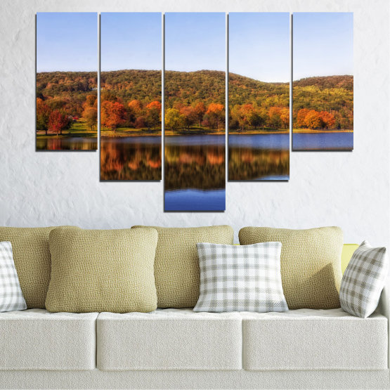Canvas prints & wall decorative panels - 5 pieces №0626 » Brown, Gray, White » Nature, Landscape, Water, Forest, Reflection, Autumn Form #6