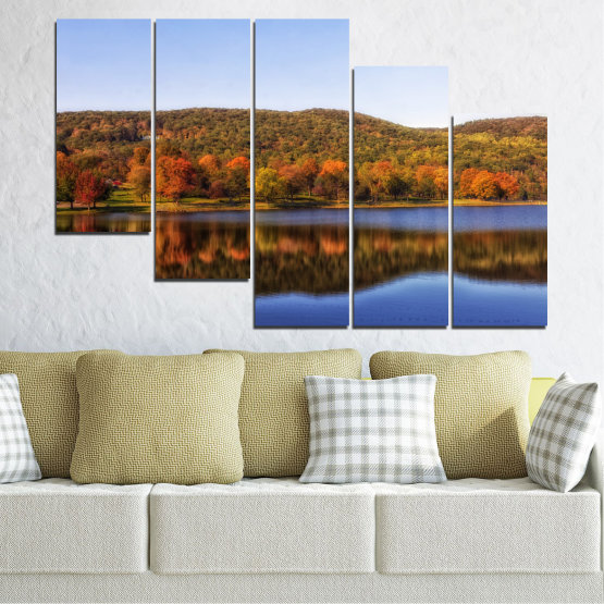 Canvas prints & wall decorative panels - 5 pieces №0626 » Brown, Gray, White » Nature, Landscape, Water, Forest, Reflection, Autumn Form #7