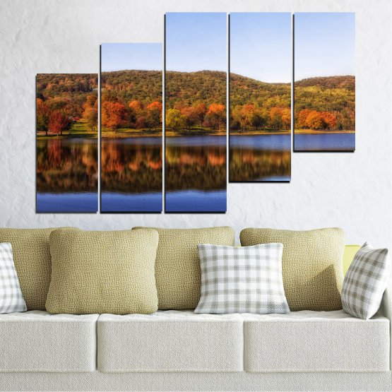 Canvas prints & wall decorative panels - 5 pieces №0626 » Brown, Gray, White » Nature, Landscape, Water, Forest, Reflection, Autumn Form #8