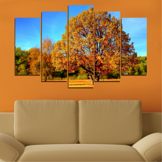 Canvas prints & wall decorative panels - 5 pieces №0627 » Turquoise, Yellow, Orange, Brown » Nature, Landscape, Tree, Autumn Form #1
