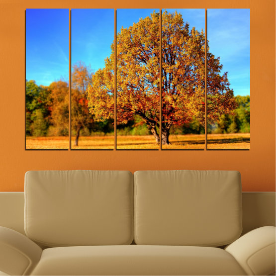 Canvas prints & wall decorative panels - 5 pieces №0627 » Turquoise, Yellow, Orange, Brown » Nature, Landscape, Tree, Autumn Form #2